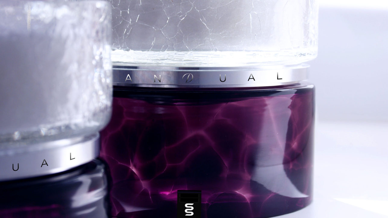 Cracked Glass & Purple - Size : 150mm / Wax Weight : 3kg / Burning Hours (Dual + Free Refill) : 300